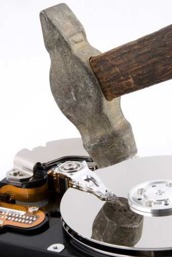 Hard disk for computer without covers under hammer